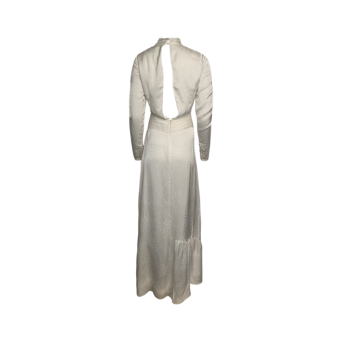 Ivory Twist Neck Printed Maxi Dress