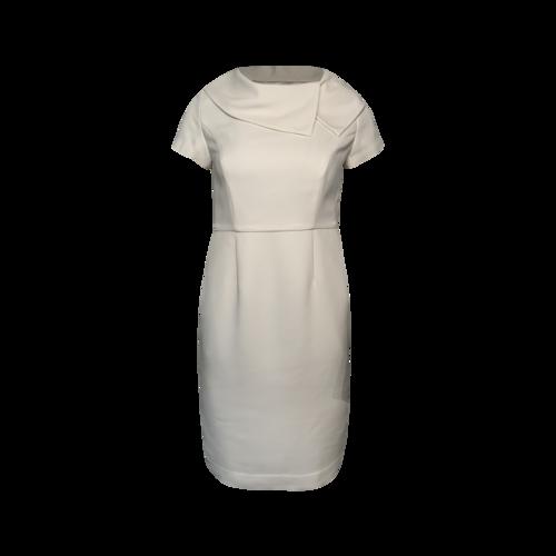 Ellen Tracy White Gathered Neck Pencil Dress