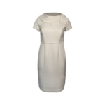 White Gathered Neck Pencil Dress