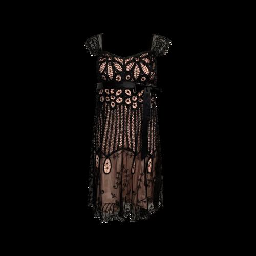 Betsey Johnson Black Lace Crochet Dress w/ Satin Belt