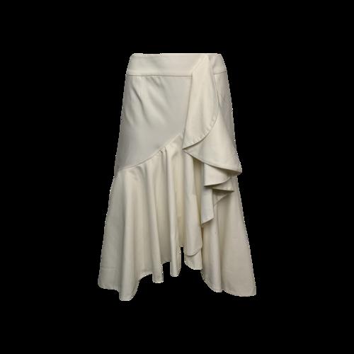 Petersyn White Ruffle Hi-Lo Midi Skirt