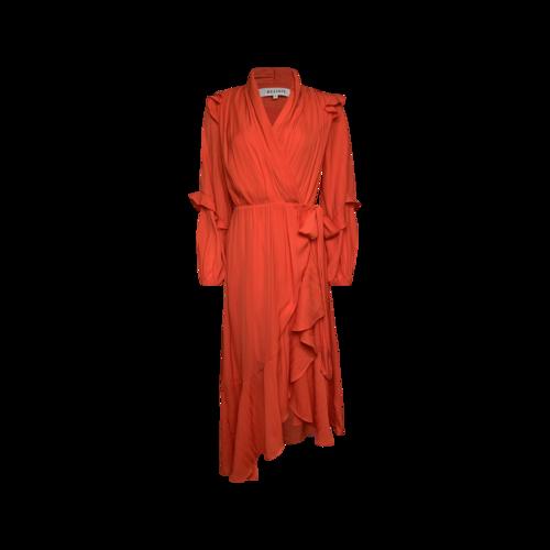 Elliatt Red Orange Ruffled Wrap Dress