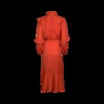 Red Orange Ruffled Wrap Dress
