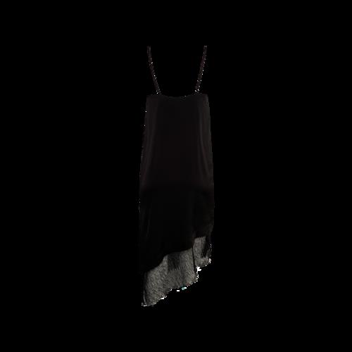 "Black ""After Hours"" Lace Trim Slip Dress"