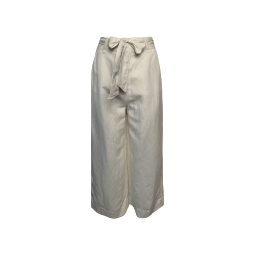 Once/ Was White Wide Leg Belted Linen Pants