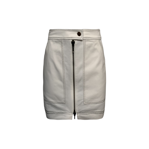 Once/ Was White Front-Zip Skirt