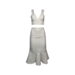 White Crop Top and Fluted Skirt Set