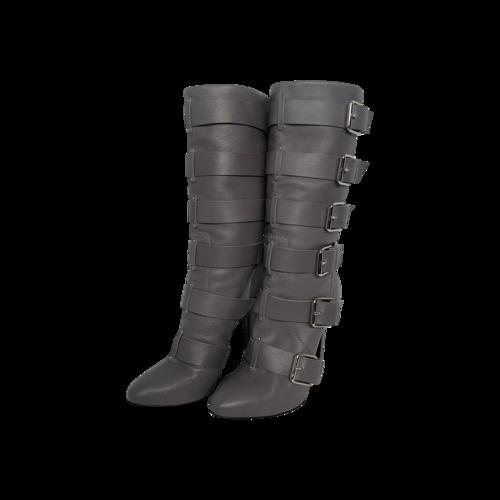 Balmain Grey Multi-Buckle Knee High Boots