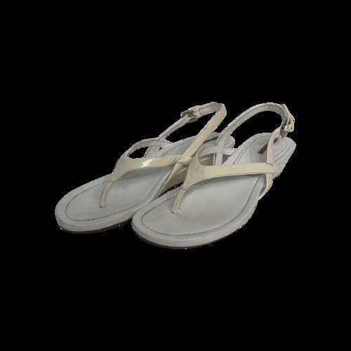 Prada White Patent Leather Thong Sandals