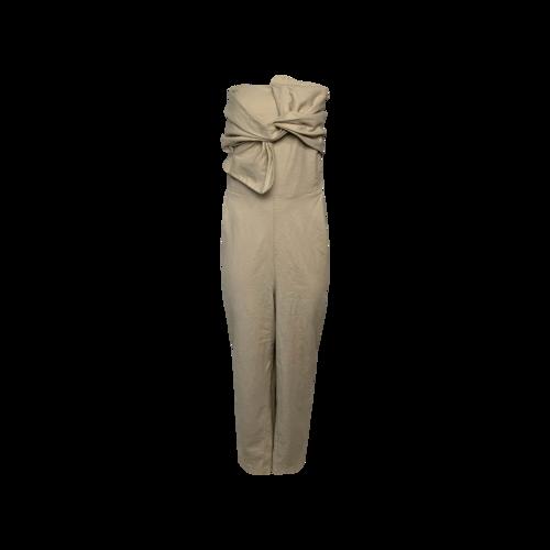 Eloquii Beige Strapless Bow Jumpsuit