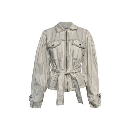 """Lovers and Friends White """"Dreamer"""" Belted Denim Jacket"""