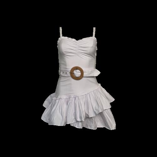 "Majorelle White ""Mediterranean"" Belted Ruffle Dress"