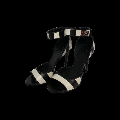 Givenchy Striped Ankle Strap Twist-Lock Heels