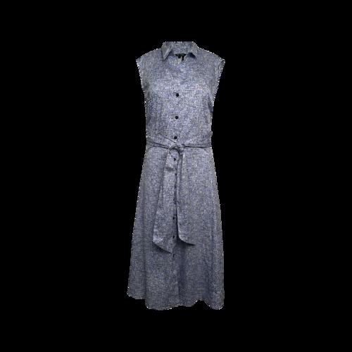 Nic & Zoe Blue Printed Tie-Waist Sleeveless Shirtdress