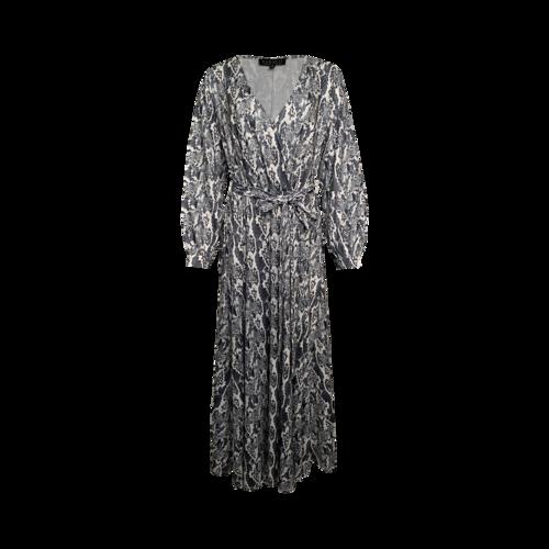 Eloquii Grey Snakeskin Print Faux Wrap Dress