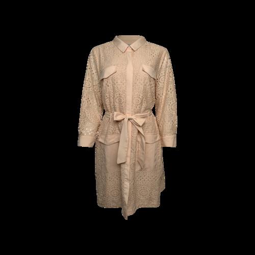 Cynthia Steffe Peach Lace Longsleeve Shirt Dress