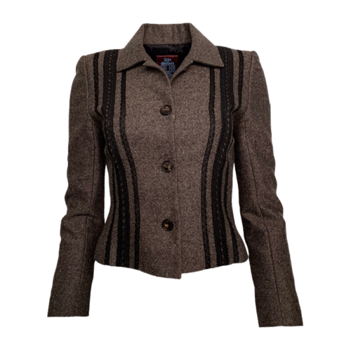 John Galliano Vintage Grey Striped Blazer
