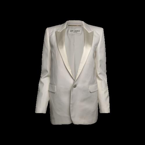 Yves Saint Laurent White Satin Lapel Blazer
