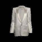 White Satin Lapel Blazer