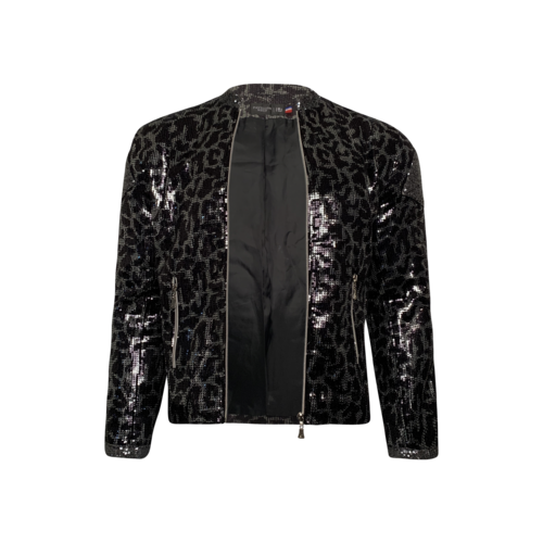 Pavillon Neuf Sequin Leopard Print Front Zip Jacket