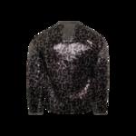 Sequin Leopard Print Front Zip Jacket