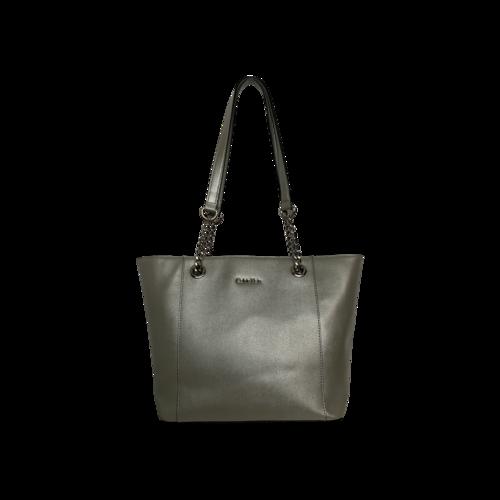 Calvin Klein Silver Saffiano Leather Chain-Trimmed Tote Bag