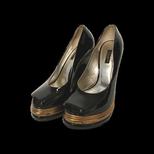 Dolce & Gabbana Black Peep Toe w/ Gold Platform Wedges