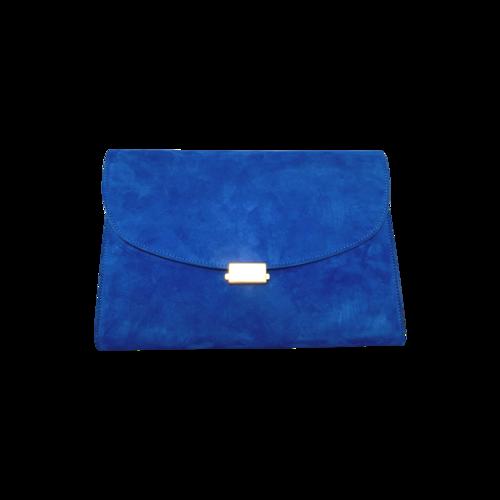 Mansur Gavriel Blue Flat Suede Clutch