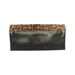 Leopard Print Fold Over Leather Clutch