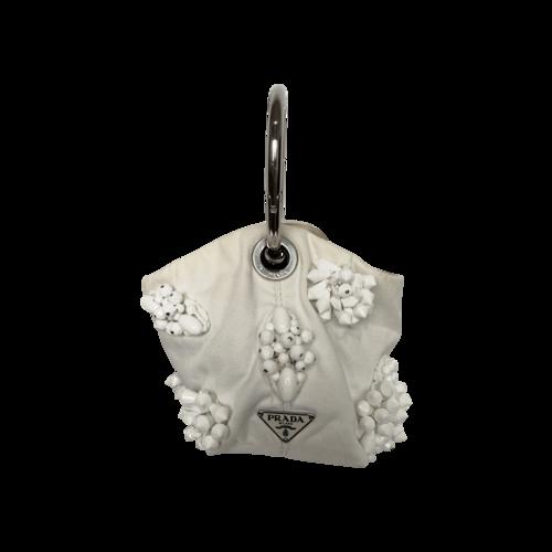 Prada White Beaded Wrist Handle Mini Bag