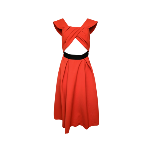 """Self-Portrait Red """"Ayelettte"""" Cut-Out Crepe Dress"""