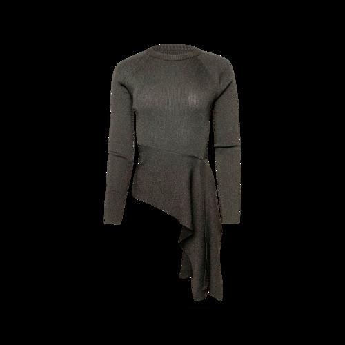 3.1 Phillip Lim Black Metallic Rib-Knit Crewneck Pullover Sweater w/ Waist Tie