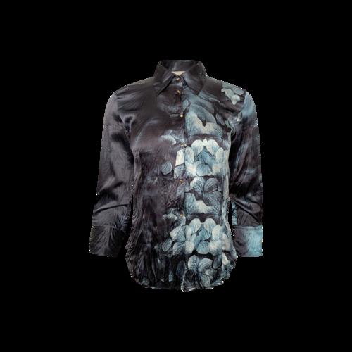 Roberto Cavalli Blue Floral Print Silk Top