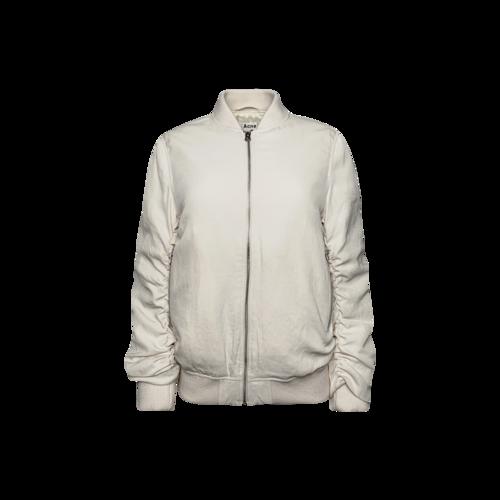 Acne Studios White  Ruched Sleeves Bomber Jacket