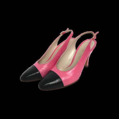 CHANEL Pink Slingback Heels w/ Black Cap Toe