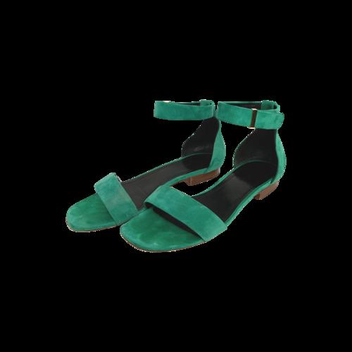 CELINE Green Suede Ankle Strap Sandals