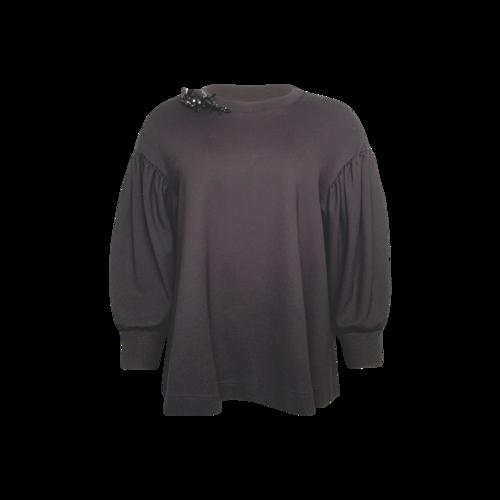 Simone Rocha Black Balloon Sleeve Sweater w/ Embellishments