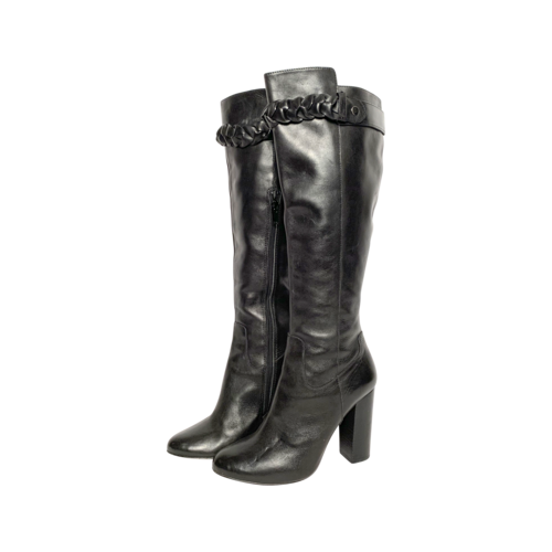 Saks Fifth Avenue Black Knee High Leather Boots w/ Braided Detail