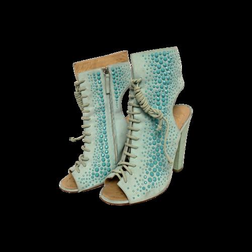 Giuseppe Zanotti Aquamarine Lace-Up Embellished Heels