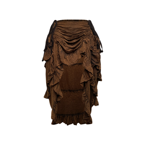 Vintage The Pirate Dressing Brown Hi-Lo Ruched Skirt
