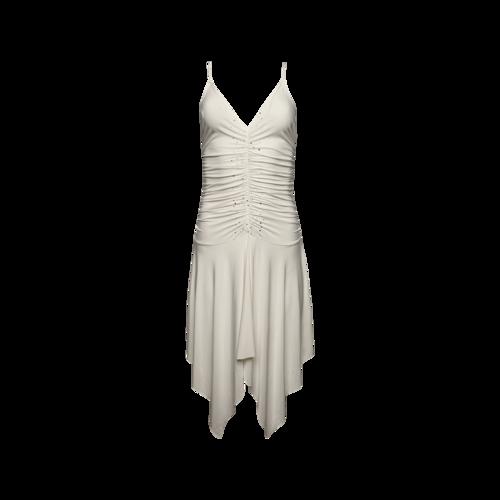 Versace Vintage White Ruched Embellished Dress