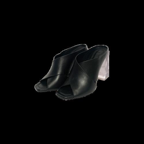 "BCBGMAXAZRIA Black ""Ilia"" Sandals w/ Clear Block Heel"