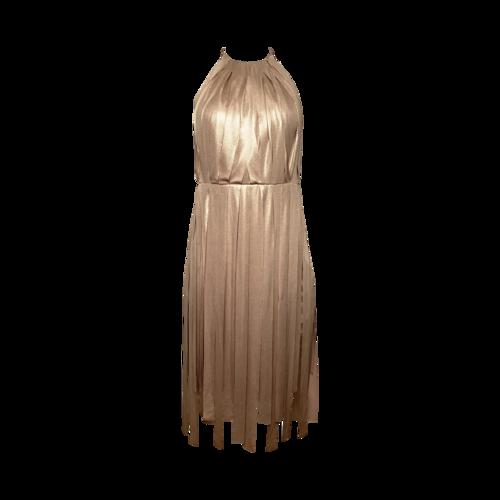 Halston Gold Halter Fringe Dress