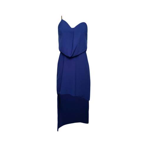 Halston Royal Blue One Shoulder Hi Lo Dress