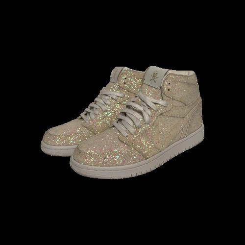 Nike White Glitter Nike Air Force 1 High Top Sneakers