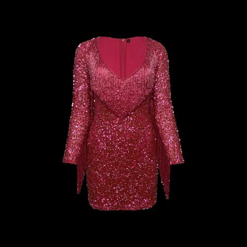 Custom Made Pink Sequins and Beaded Fringe Dress