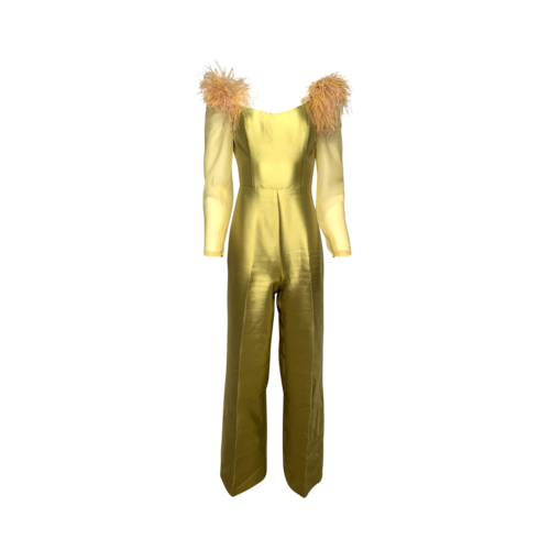 Custom Made Chartreuse Feathered Jumpsuit