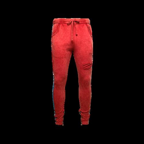 Just Don Red Drawstring Sweatpants w/ Paisley Stripes