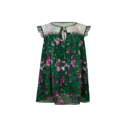 Marchesa Notte Green Floral Print Blouse w/ Sheer Top