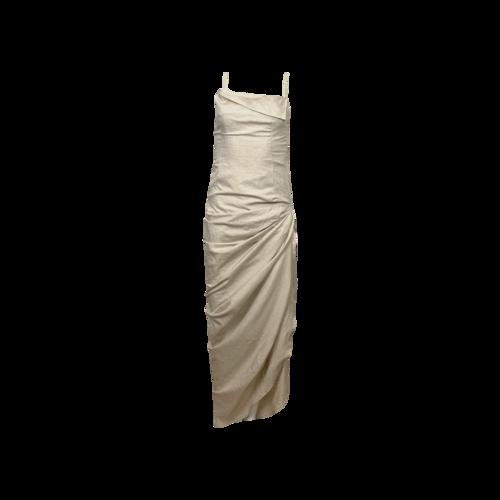 JACQUEMUS Cream La Robe Saudade Linen-Blend Draped Maxi Dress